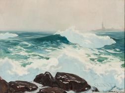 Harry Russell Ballinger (American, 1892-1993)      Rolling Waves on Rocks.