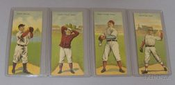 Four 1911 T201 Mecca Cigarettes Double Folder Baseball Cards