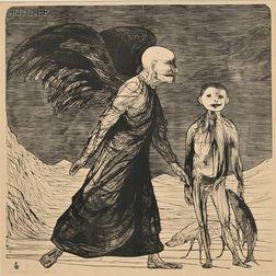 Leonard Baskin (American, 1922-2000)      Tobias and the Angel