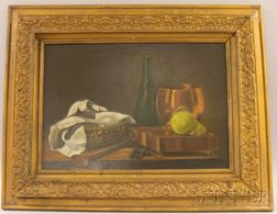 Framed 20th Century American School Oil on Canvas Still Life with Pear