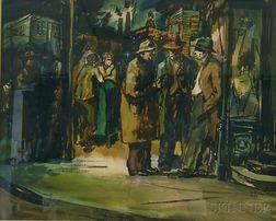 Ernst Halberstadt (American, 1910-1987)      Figures at a Street Corner