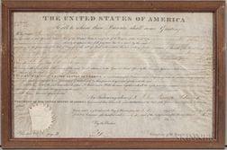 Adams, John Quincy (1767-1848) Signed Land Document, 6 June 1826.