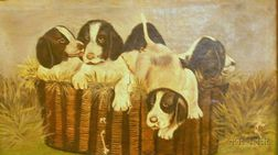 Framed American School Oil on Canvas of Puppies in a Basket