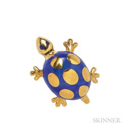 18kt Gold and Lapis Turtle Brooch, Tiffany & Co.