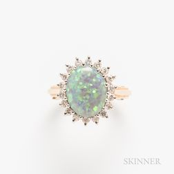 14kt Gold, Opal, and Diamond Ring