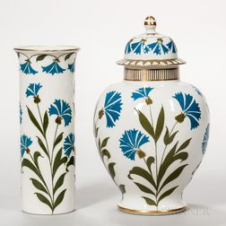 Two Wood & Sons Pate-sur-Pate Decorated Porcelain Vases