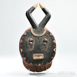 Baule Carved and Painted Wood Mask