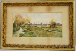 Dubois Fenelon Hasbrouck (American, 1860-1934)      Fence Mending in an Autumn Landscape