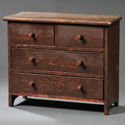 Miniature Red-painted Pine Bureau