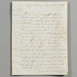Burgoyne, John (1722-1792) Secretarial Letter Signed, 26 March 1778.