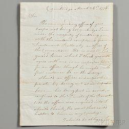 Burgoyne, John (1722-1792) Secretarial Letter Signed, 26 March 1778.