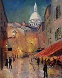 French School, 20th Century    Paris Street Scene with Sacré-Cœur