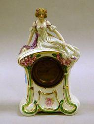 Figural Ceramic Mantel Clock.