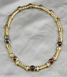 18kt Gold, Gem-set, and Diamond Necklace, Esti Frederica