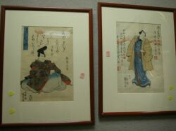 Three Framed Japanese Woodblock Prints.