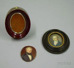 Two Framed 19th Century Portrait Miniatures of Gentlemen.