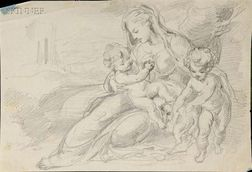 Continental School, 18th/19th Century Lot of Five Figural Drawings, Including Scenes with the Virgin and C...