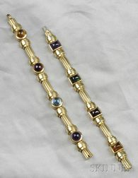 Two 18kt Gold Gem-set Bracelets