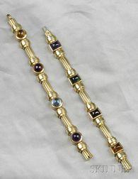 Two 18kt Gold Gem-set Bracelets