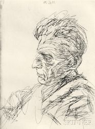 Avigdor Arikha (French/Israeli, 1929-2010)      Samuel Beckett in Profile