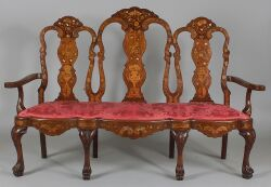 Dutch Baroque Fruitwood and Ivory Marquetry-inlaid Mahogany Settee