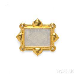 18kt Gold and Mother-of-pearl Pendant/Brooch, Elizabeth Locke