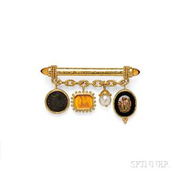 18kt Gold Bar Brooch, Elizabeth Locke