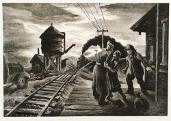 Lot of Three Prints:  Including Thomas Hart Benton (American, 1889-1975), Morning Train
