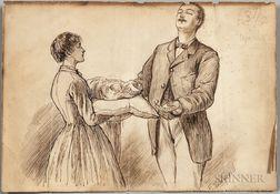 Alcott, Louisa May (1832-1888) Autograph Note on Verso of Original Frank T. Merrill (1848-1923) Illustration for Little Women.