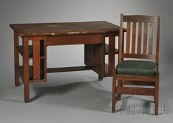 L. & J.G. Stickley Arts & Crafts Oak Desk and Chair