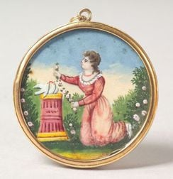 American School, 19th Century    Miniature Watercolor Memorial Picture.