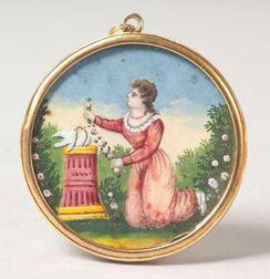 American School, 19th Century    Miniature Watercolor Memorial Picture.