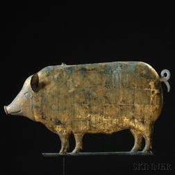 Gilt Molded Copper and Cast Zinc Pig Weathervane