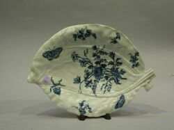 French Blue and White Floral Decorated Leaf Molded Porcelain Dish.