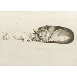 Cecil Charles Windsor Aldin (British, 1870-1935)  Lot of Two Dog Prints:  The Sleeping Pekinese