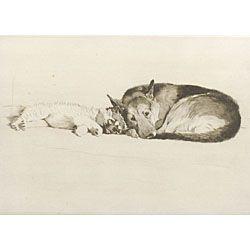 Cecil Charles Windsor Aldin (British, 1870-1935)  Lot of Two Dog Prints:  The Sleeping Pekinese