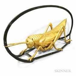 Molded Gilt Copper and Wrought Iron Mounted Grasshopper Sign