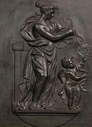 Wedgwood and Bentley Black Basalt Tablet Depicting Venus and Cupid