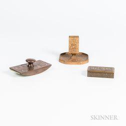 Three Tiffany Studios Bronze Zodiac-pattern Desk Items