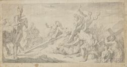 Manner of Andrea Celesti (Italian, 1637-1706)      Christ Being Nailed to the Cross