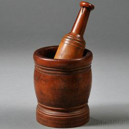 Turned Lignum Vitae Mortar and Pestle