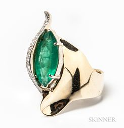 14kt Gold, Emerald, and Diamond Cocktail Ring