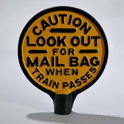 Cast Iron Railroad Mail Bag Sign and Bracket