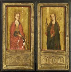 Italian School, 15th Century Style  Pair of Female Martyrs:  Saint Catherine