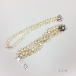 Three-strand Cultured Pearl Bracelet and a Cultured Pearl Necklace