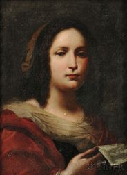 Italian School, 16th Century Style      Two Bust-length Portraits of Women: Lady in Red With a Sheet of Music