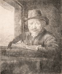 Rembrandt Harmensz van Rijn (Dutch, 1606-1669)      Self Portrait Drawing at a Window