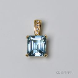 14kt Gold, Aquamarine, and Diamond Enhancer