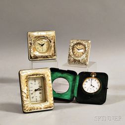 Three Sterling Silver-clad Desk Clocks and a Sterling Silver Pocket Watch Stand