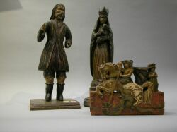 Painted Carved Wood Figures of St. George with Dragon and Two Santos.